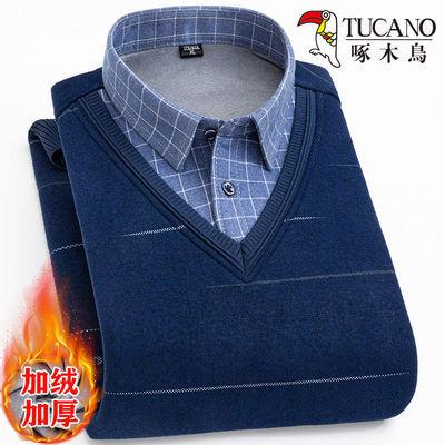 衬衫领假两件男格子条纹秋冬季衬衣领大码 针织男士男款爸爸毛衣
