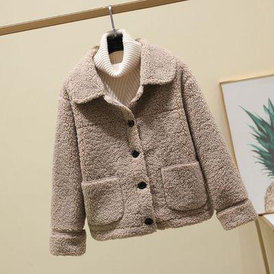 加厚秋冬年轻款颗粒羊剪绒大衣女复合皮毛一体羊羔毛短款皮草外套