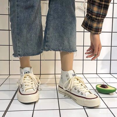 62010/1970s情侣鞋子原宿港风高帮帆布鞋女学生韩版ins复古百搭板鞋潮鞋