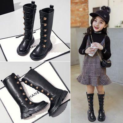 女童马丁靴2020年秋冬新款儿童长筒靴加绒大童骑士靴韩版公主长靴