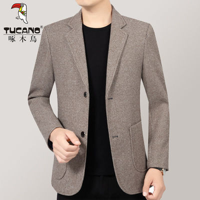 啄木鸟中年休闲男士西装外套加厚爆款西服上衣爸爸装潮流2020新款
