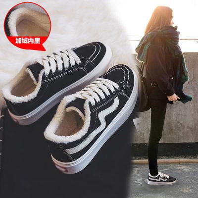 加绒帆布鞋女鞋韩版百搭新款黑色布鞋休闲小白板鞋潮2020年秋冬季