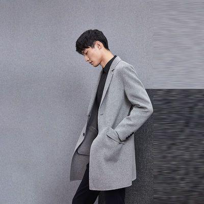 海剪HA秋冬季男士双面呢大衣男装平驳领时尚外套男保暖通勤外套男