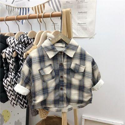 男童长袖衬衫秋冬童装新款儿童衬衣女宝宝保暖加绒加厚格子衬衣潮