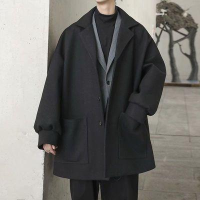 2020秋冬新款中长款风衣男士潮流呢大衣韩版宽松休闲情侣毛呢外套
