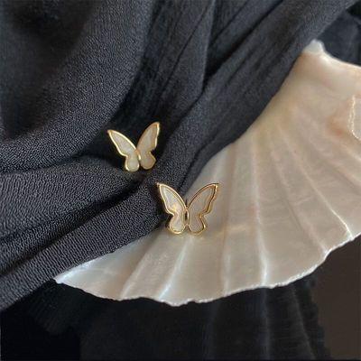 蝴蝶翅膀耳环迷你精致白色天然贝壳珍珠耳钉925银针防过敏耳饰