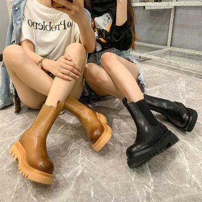 2020真皮切尔西靴mona同款马丁靴女复古高帮英伦潮B机车V厚底短靴