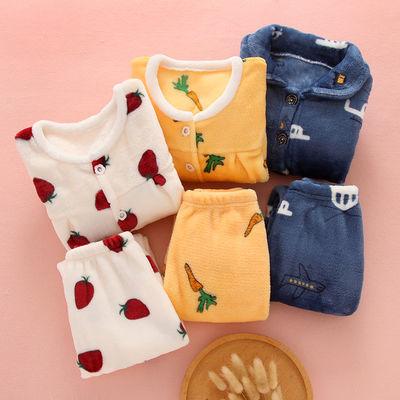 秋冬季儿童法兰绒睡衣套装加厚中大男女童珊瑚绒小孩长袖宝宝睡衣