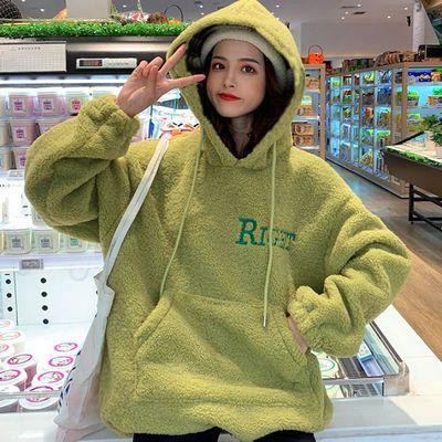 大码连帽羊羔毛绒卫衣女装秋冬新款加绒加厚外套学生韩版宽松ins