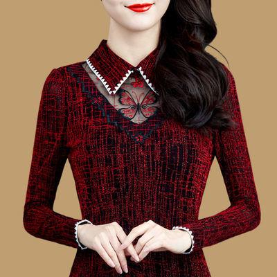 【加绒/不加绒】网纱打底衫2020秋冬新款蕾丝衫内搭加绒保暖上衣