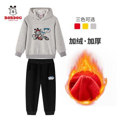 巴布豆童装男童卫衣套装加绒加厚两件套秋冬款中小童2-10岁2020新