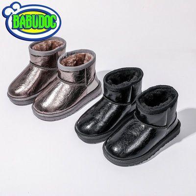2020新款女童亮片短靴儿童雪地靴男童防水皮面棉皮靴加绒加厚软底