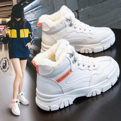 棉鞋女2020冬季新款潮流女鞋马丁靴加绒高帮鞋子女学生韩版雪地靴