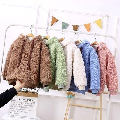 2020秋冬新款男女童装洋气连帽卫衣儿童羊羔毛绒上衣宝宝套头外套