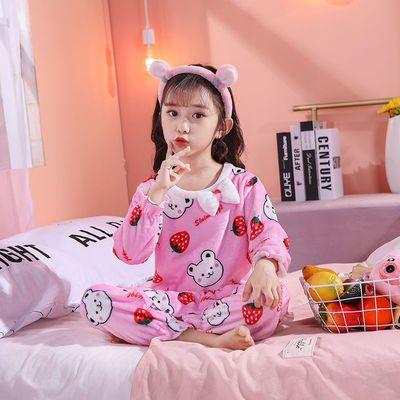 儿童睡衣女秋冬季加厚珊瑚绒卡通公主风宝宝法兰绒女童家居服套装