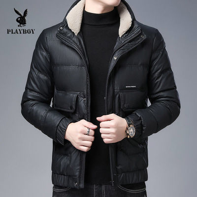 花花公子皮衣羽绒服男冬季新款90绒加厚男士冬装保暖修身翻领外套