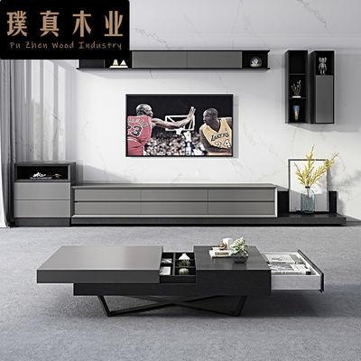 北欧电视柜茶几组合套装现代简约伸缩电视柜小户型客厅矮 地柜ins