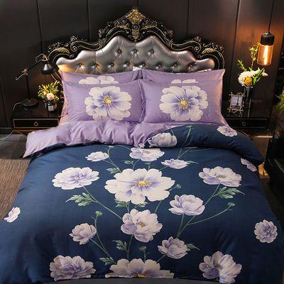英凡正品网红斜纹加厚四件套被套床上用品大版花床单被套宿舍必备