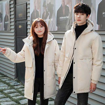 冬季情侣羽绒服男女士同穿白鸭绒青年学生加厚连帽中长款工装外套