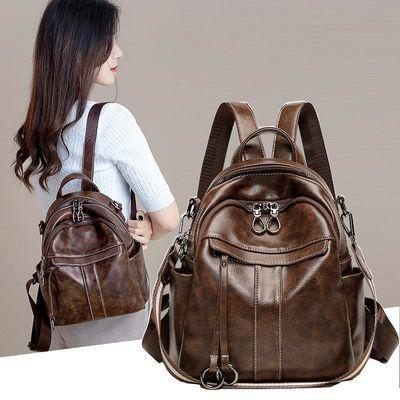 潮牌单双肩包女士新款时尚真皮质感大容量小背包百搭休闲旅行包