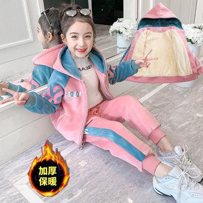 女童金丝绒套装冬装2020新款儿童洋气加绒加厚冬季大童运动两件套