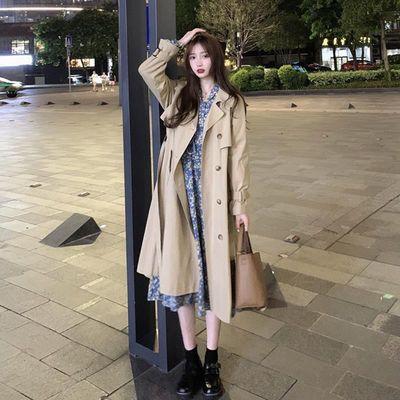 60326/2021新款韩版气质宽松卡其色风衣女百搭中长款小个子长袖外套