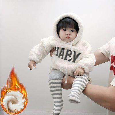 ins韩国婴幼儿可爱毛绒绒连体卫衣宝宝加厚加绒字母包屁哈衣爬服