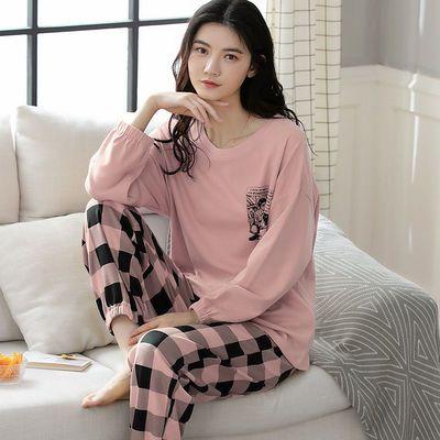 100%全棉长袖睡衣女春秋季加厚可外穿学生韩版甜美纯棉家居服套装