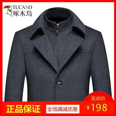 啄木鸟夹克男秋季毛呢外套中年男士脱卸马甲呢子大衣秋冬加厚男装