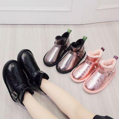 2020冬季新款雪地靴男童女童加绒保暖短靴子加厚皮毛一体低筒棉鞋