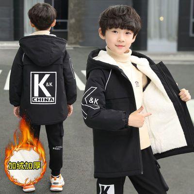 童装男童外套冬装2020新款加绒中大童加厚外套儿童男中长款风衣潮