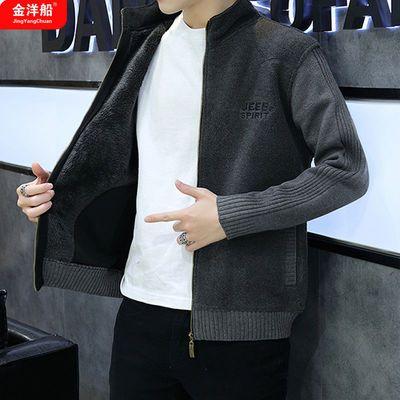 外套男士韩版潮牌上衣服加绒加厚秋冬装针织开衫夹克男装毛衣外套