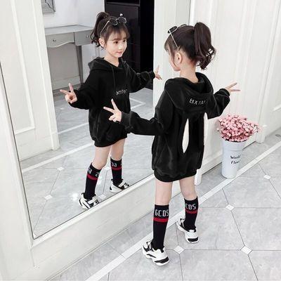 中大女童卫衣秋冬装2020新款双面金丝绒加厚长款卫衣裙连帽兔耳朵