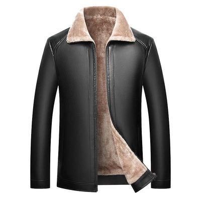 2020爸爸皮衣男中年秋冬皮夹克男士加绒冬装外套中老年软皮上衣