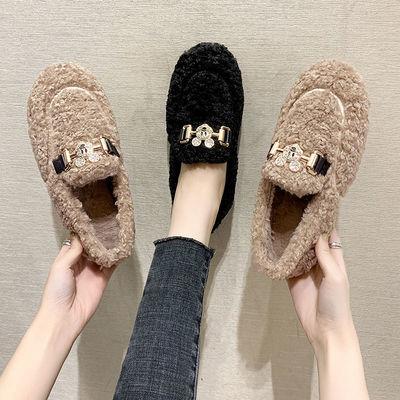 毛毛鞋女冬2020新款时尚网红羊羔毛女鞋一脚蹬豆豆鞋加绒百搭厚底