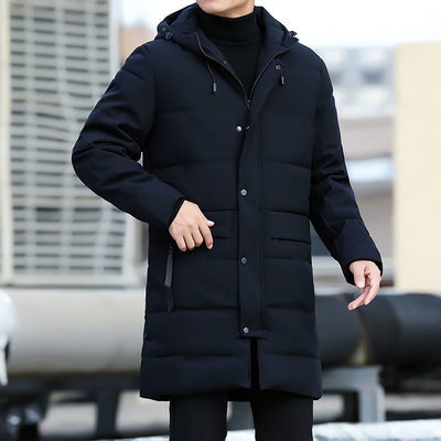 棉服男冬季加厚保暖时尚休闲外套2020男士中长款大码纯色连帽棉衣