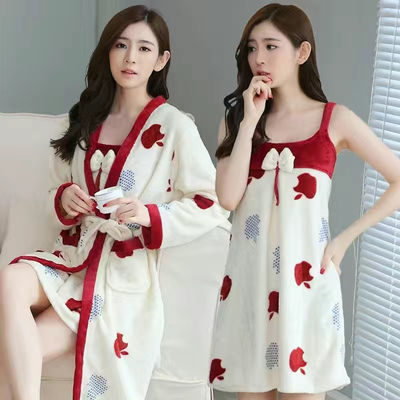 74742/秋冬季珊瑚绒睡衣女士长袖加厚法兰绒睡袍睡裙两件套装浴袍家居服