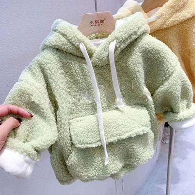 宝宝加绒卫衣连帽男童加厚外套羊羔绒秋冬装洋气女童打底衫保暖衣