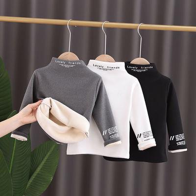 儿童秋冬韩版半高领男女童加绒长袖T恤中小童加厚洋气宝宝打底衫