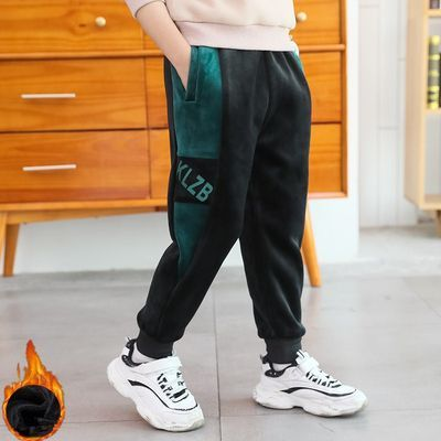 男童加绒裤子一体绒加厚韩版长裤2020秋冬装中大童宽松儿童运动裤