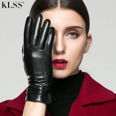 KLSS真羊皮手套女款触山羊皮手套女秋冬加绒薄款保暖短款女皮手套