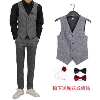 男士商务修身潮流西服灰色裤子马夹套装职业工作服韩版青年两件套