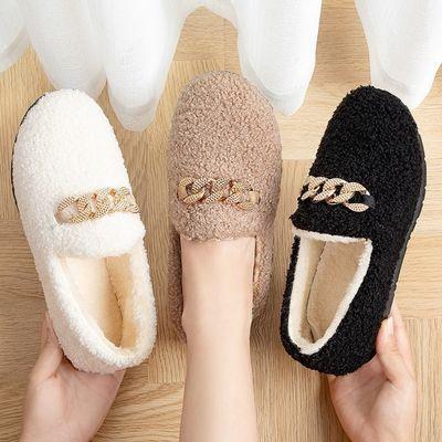 冬季新品棉鞋女加绒保暖休闲韩版年轻毛毛鞋上班轻便一脚蹬豆豆鞋