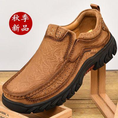 骆鸵男鞋秋冬新款真皮户外休闲鞋男磨砂皮鞋男士工装鞋低帮厚底鞋