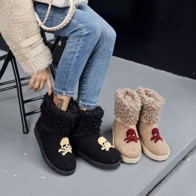 雪地靴女加绒加厚棉鞋2020秋冬新款懒人保暖一脚蹬防滑厚底短靴女