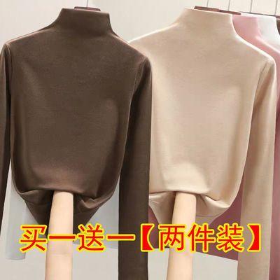 单/两件 半高领打底衫女长袖2020秋冬上衣女修身内搭洋气加厚t恤
