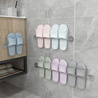 浴室拖鞋架毛巾架墙壁挂式免打孔挂钩卫生间厕所收纳架沥水挂墙架