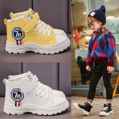 儿童马丁靴英伦风女童靴子秋冬季宝宝加绒棉靴中大童皮靴男童短靴