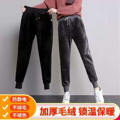 金丝绒女裤加厚冬季双面绒运动裤女学生宽松显瘦小脚哈伦裤保暖裤