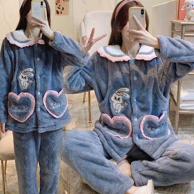 91205/法兰绒孕妇睡衣秋冬季珊瑚绒加绒加厚月子服冬季产后哺乳期喂奶衣
